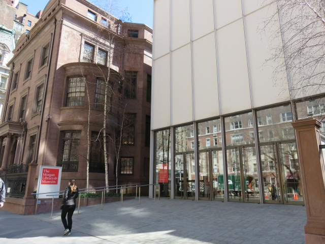 Modern entrance to Morgan Library & Museum, with Morgan home to the left